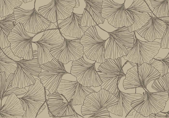 Ginkgo Vintage Color Seamless Pattern Vector