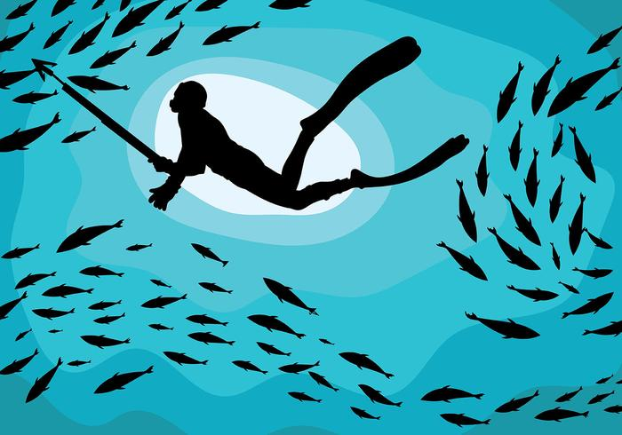 Spearfishing Vector de fondo