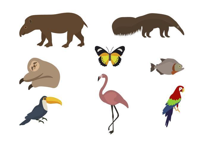Vetores planos de animais selvagens