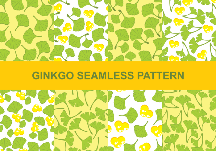 Ginkgo Seamless Patterns