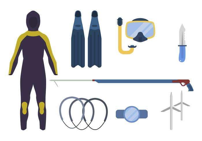 Flat Spearfishing Vectors