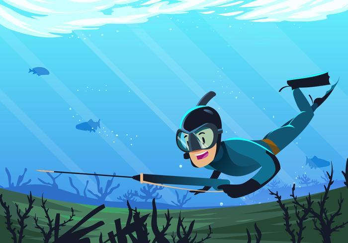 Vector Underwater Spearfishing Scene