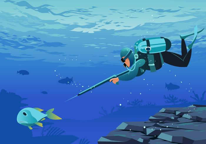 Spearfishing Underwater Vector