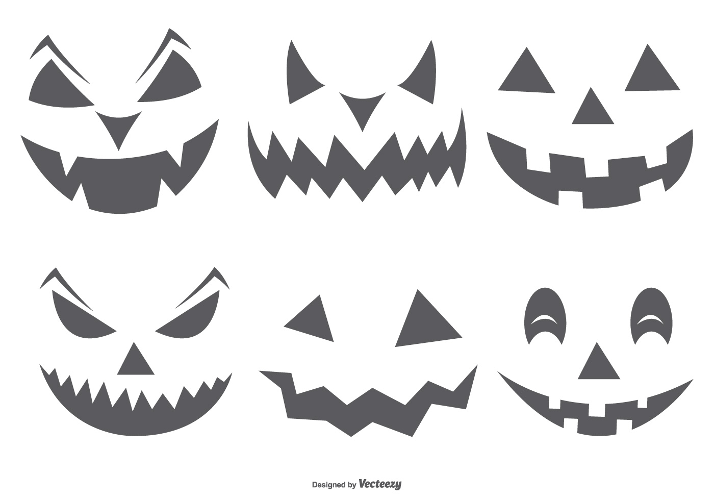 Cute Spooky Halloween Pumpkin Faces Download Free Vector