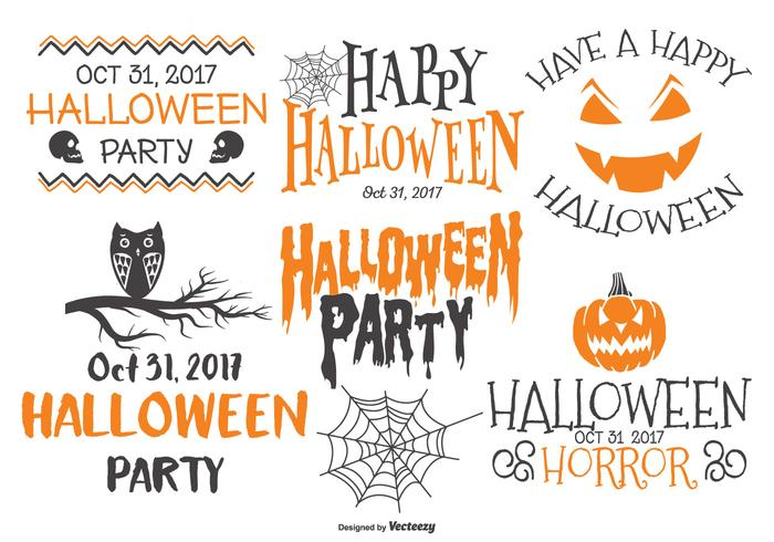 sketchy style typographic halloween labels download free vector