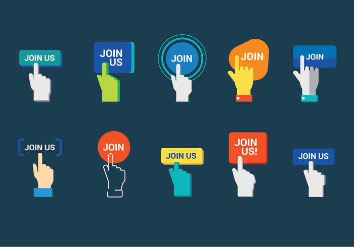 Set of Hands with Join Us Button Vectors