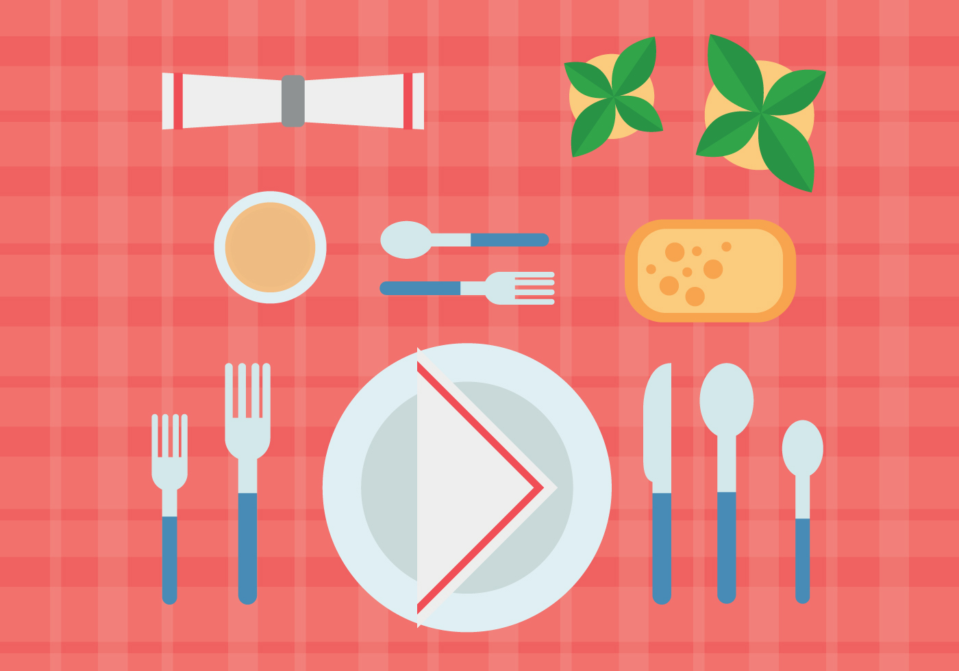 Eating in a restaurant vector download free vector art for Table design vector