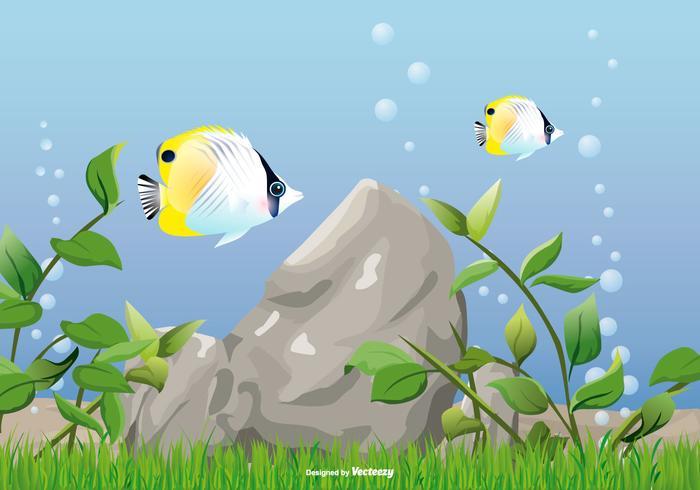 Unterwasser-Meer-Illustrationen mit Fisch und See-Unkraut