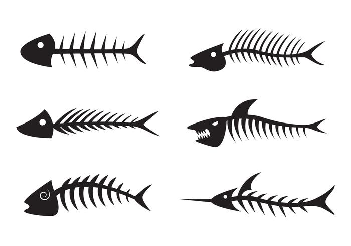Vecteur silhouette noire Fishbone