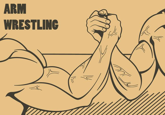 Arm Wrestling Outline Illustration