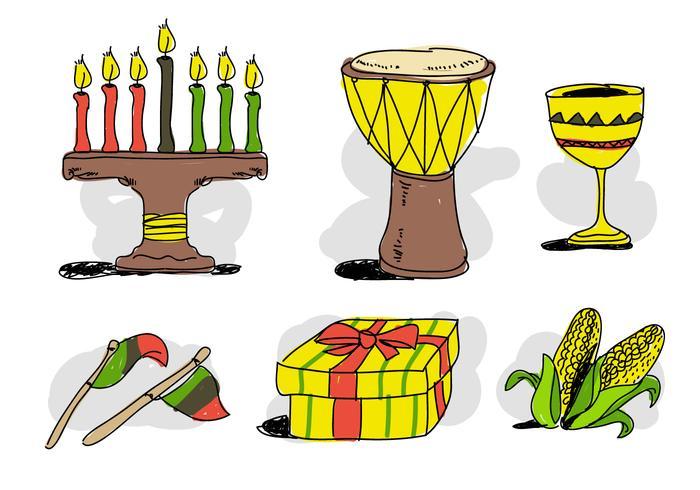 Kwanzaa cosas dibujadas a mano ilustración vectorial