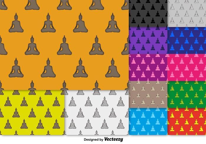 Vector Buddha Icon SEAMLESS Pattern Set