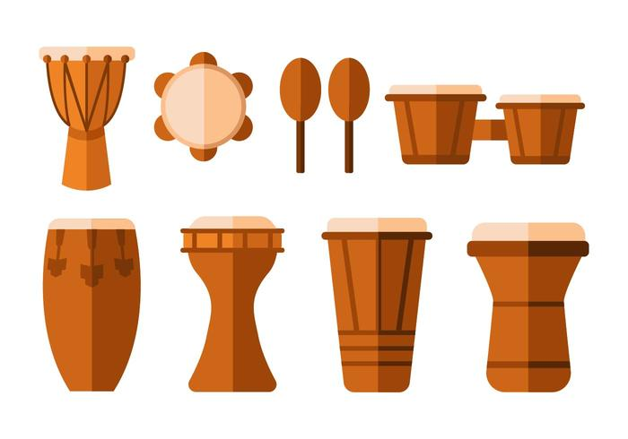Free Traditional Africa Drums Flat Vector