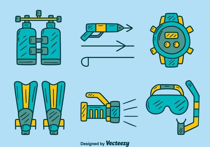 Dibujado a mano el vector de elementos de pesca submarina