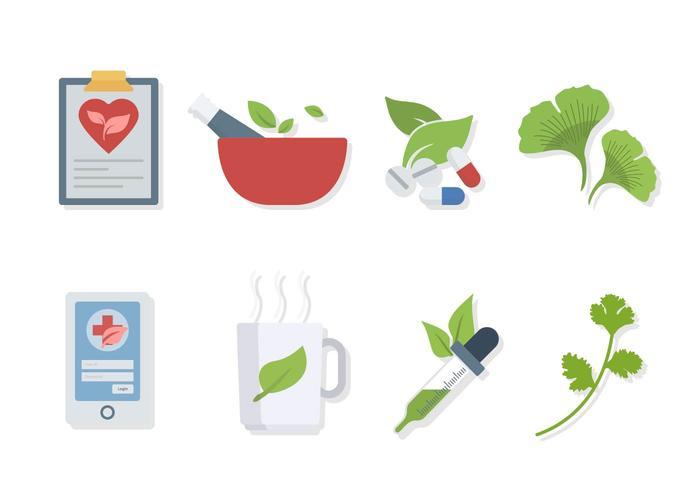 Flat Herbal Medicine Vectors