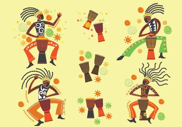 Vector Man Playing Djembe and African Music