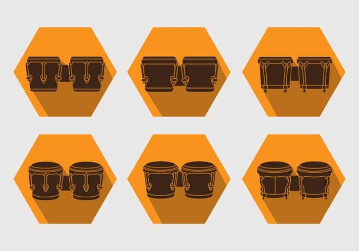 bongo icon set vector