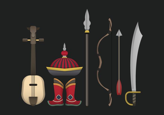 Mongoolse Item Collection Vector Illustratie