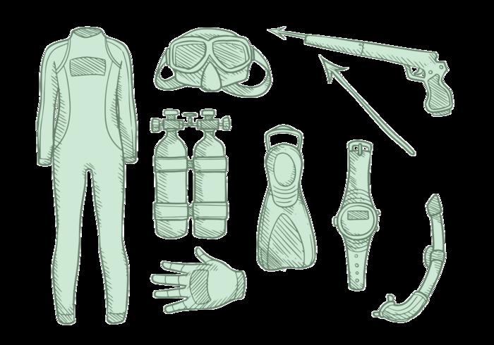 spearfishing apparatuur vector