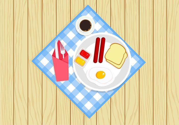 Meal with Serviette Free Vector