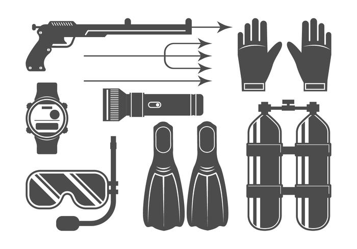 Spearfishing iconen ingesteld vector