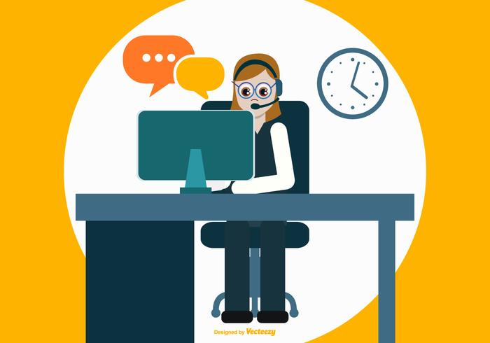 Colorful Flat Style Call Center Illustration