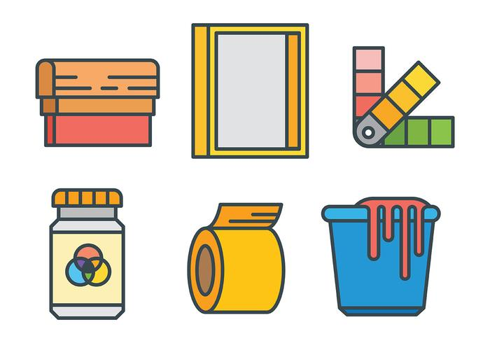 Screen Printing Vector Icons