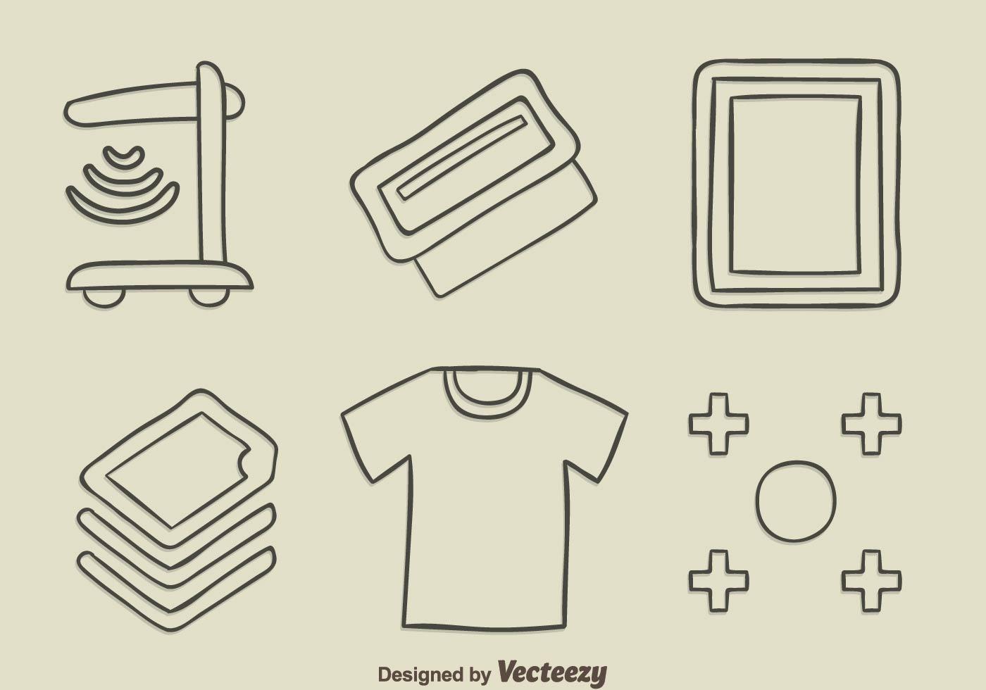 Sketch Screen Printing Element Vector Download Free