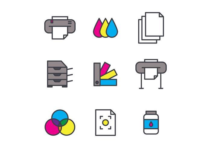 Conjunto de ícones de impressão de tela esboçada