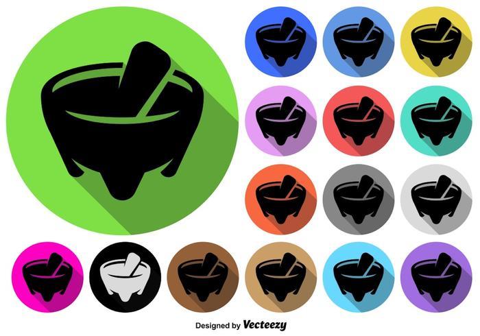 Ensemble de boutons colorés colorés mexicains Molcajete Icon