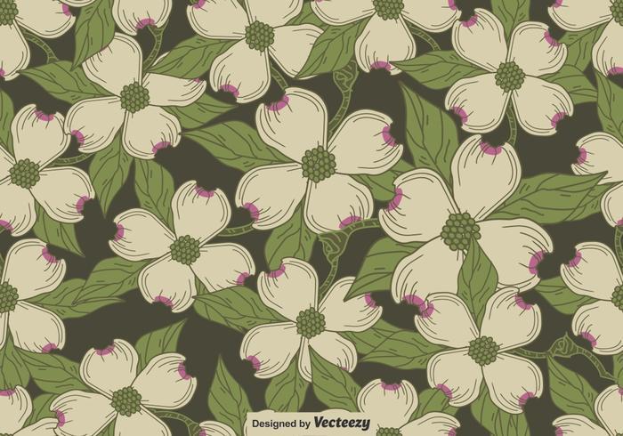 Vector Seamless Pattern Of Dogwood Blossom Motif
