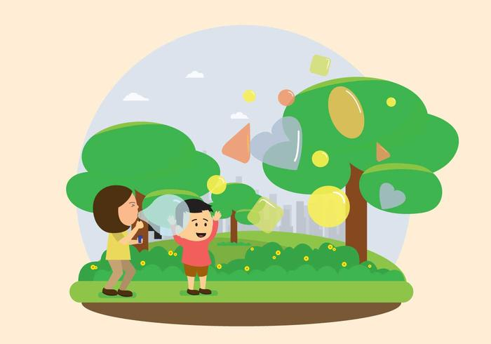 Kids Bubble Blowing Illustration