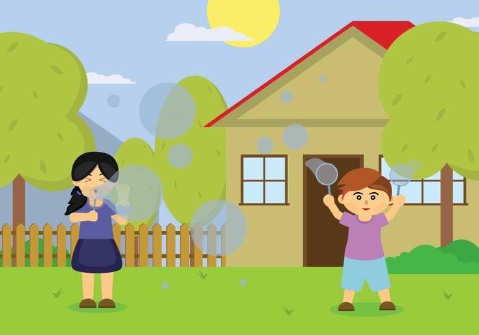 Free Children Playing Bubbles Illustration