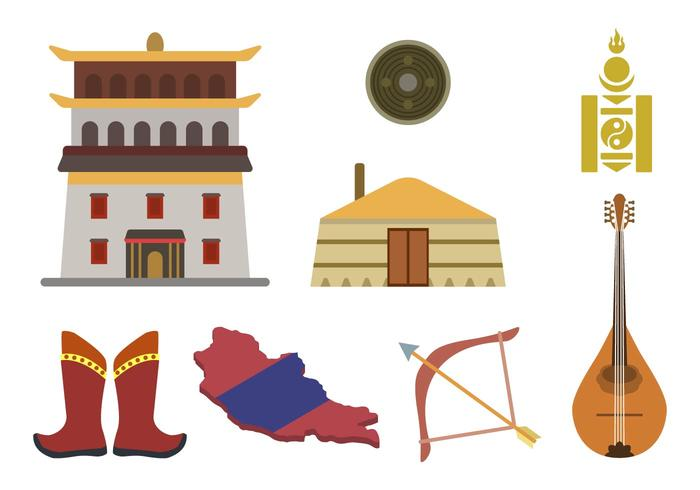 Vlakke Mongoolse Vectoren