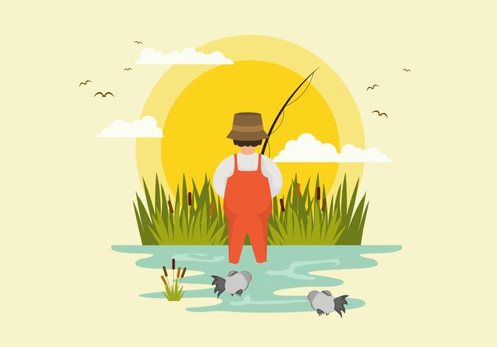 Man Fishing Piranha Illustration Vector