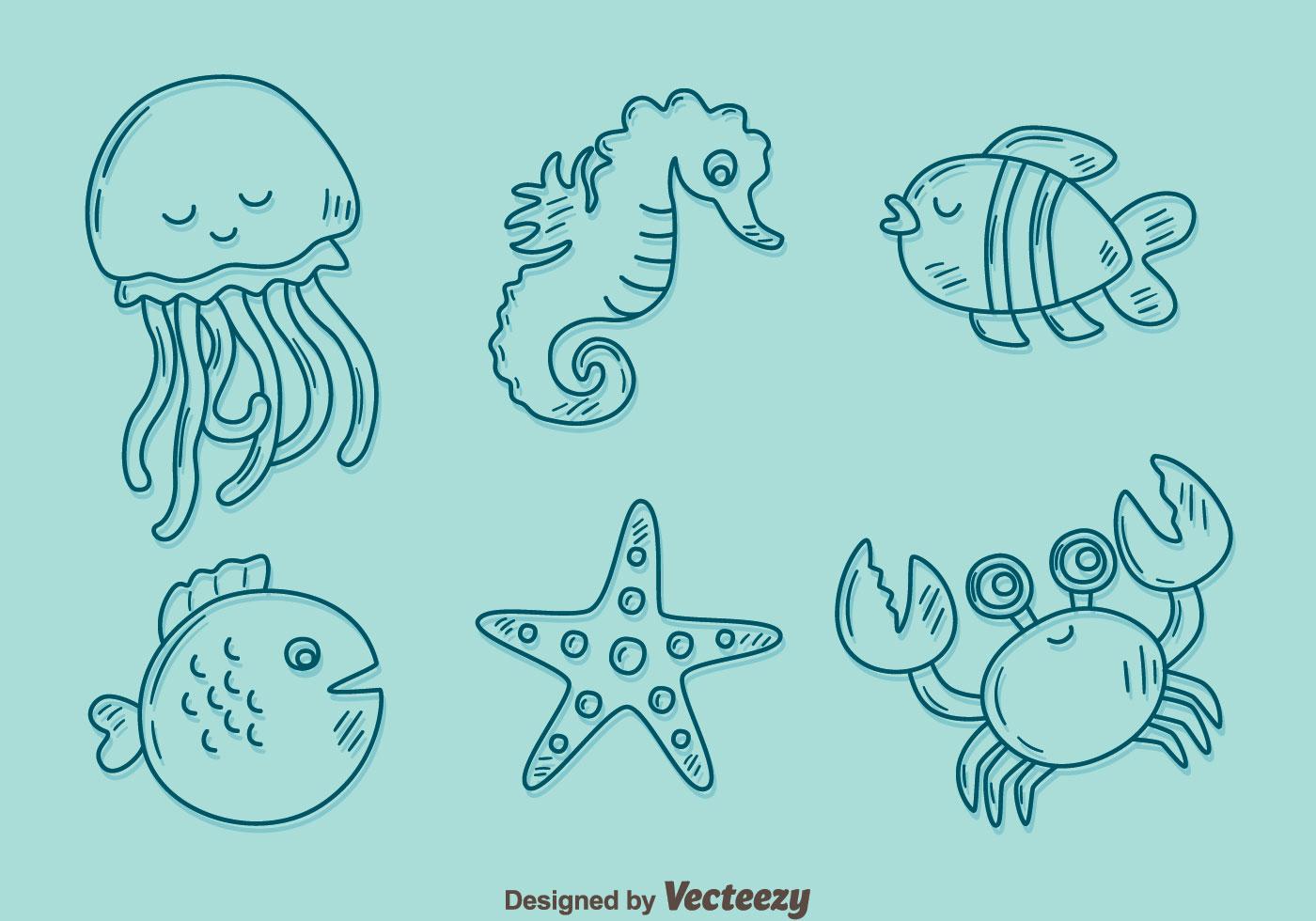 Vector de la colección de la criatura del mar del bosquejo ...