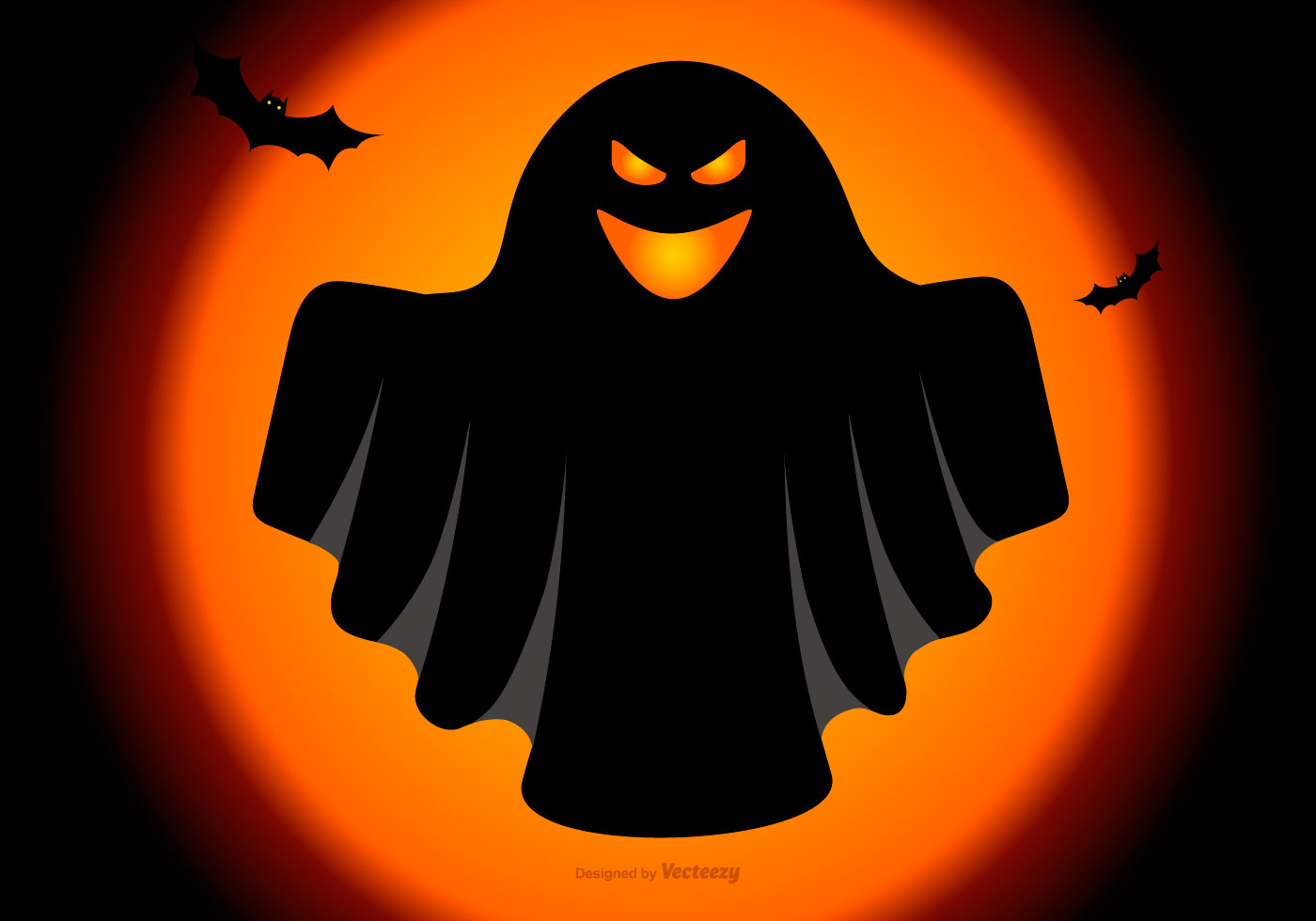 Spooky Halloween Ghost Illustration - Download Free Vector ...