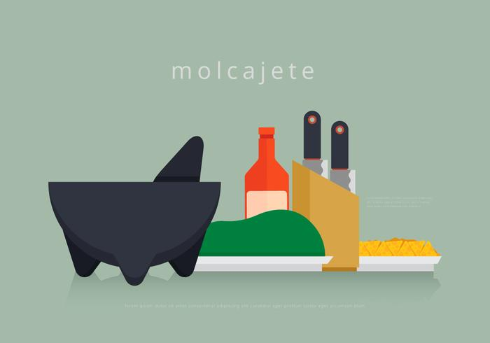 Moljacete Mexican Traditional Food and Grinding Tools vector