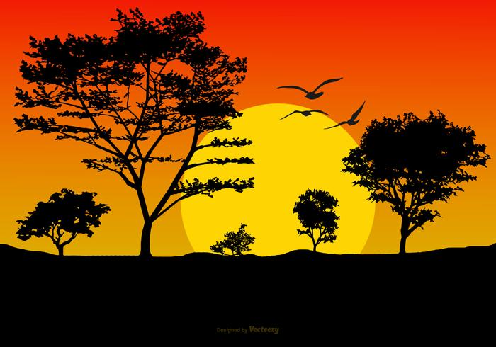 Beautiful Sunset Landscape Illustration