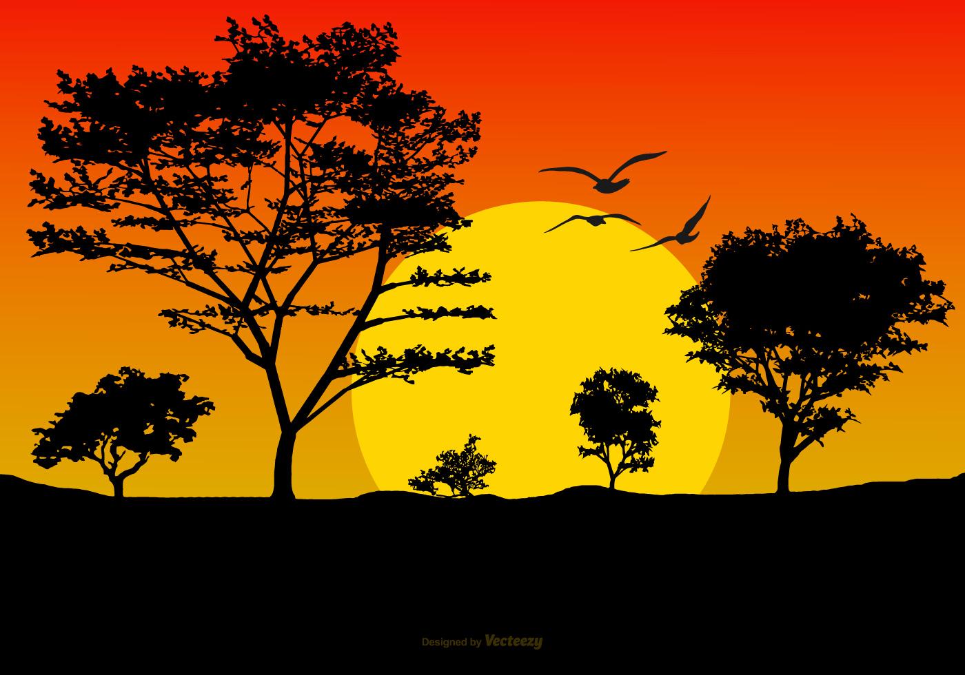 Landscape Illustration Vector Free: Beautiful Sunset Landscape Illustration