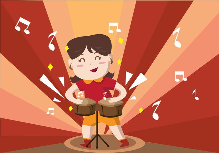Cute Girl Playing Bongo Vector
