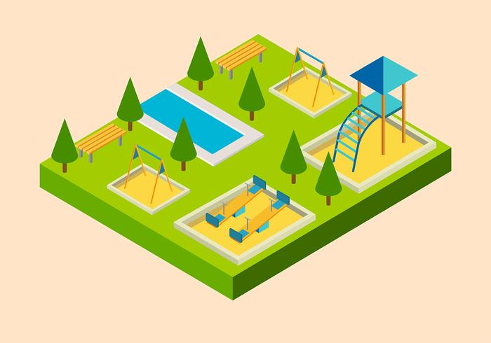 Spielplatz Isometric Free Vector