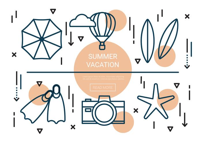 Linear Summer Vacation Vector Elements