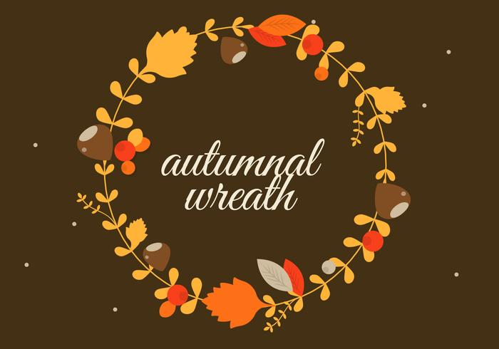 Free Flat Design Vector Autumn Greeting Illustration