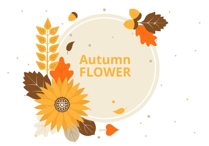Free Flat Design Vector Autumn Greeting Card