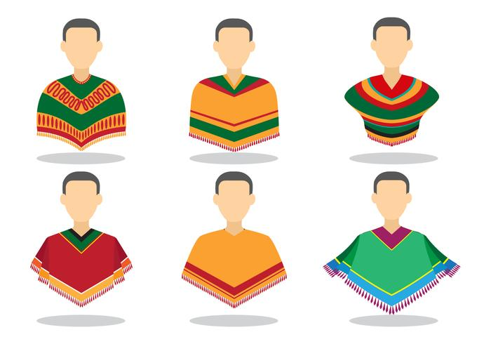 Avatar Men with Poncho Vectors