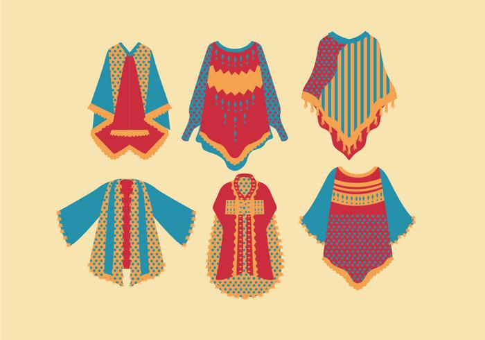 Poncho Colorful Style Vector