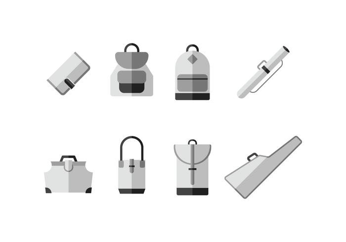 Cases and bags vector icons