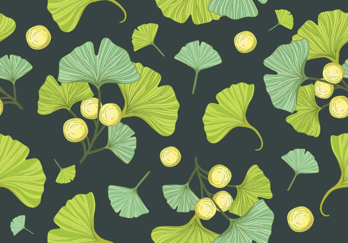 ginkgo biloba seamless pattern download free vector art