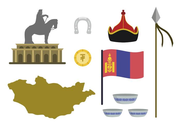 Flache mongolische Vektoren
